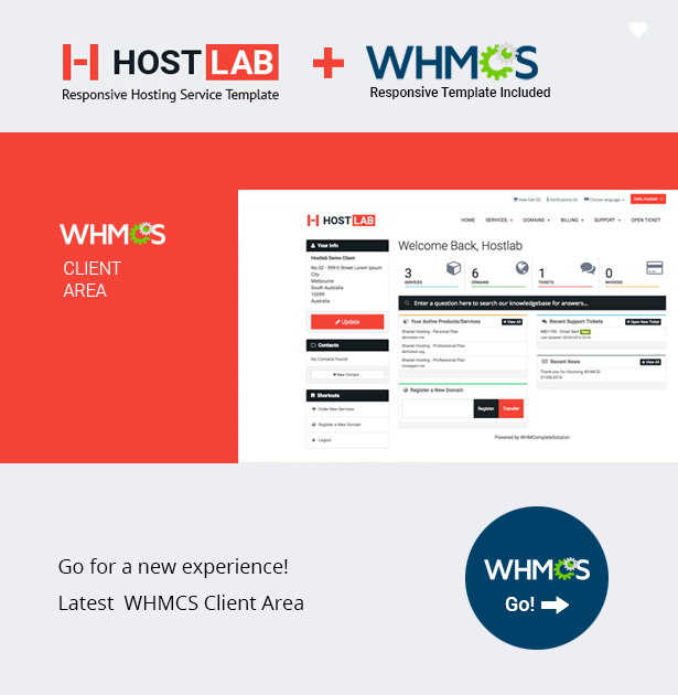 HostLab - Responsive Hosting Service With WHMCS Template by