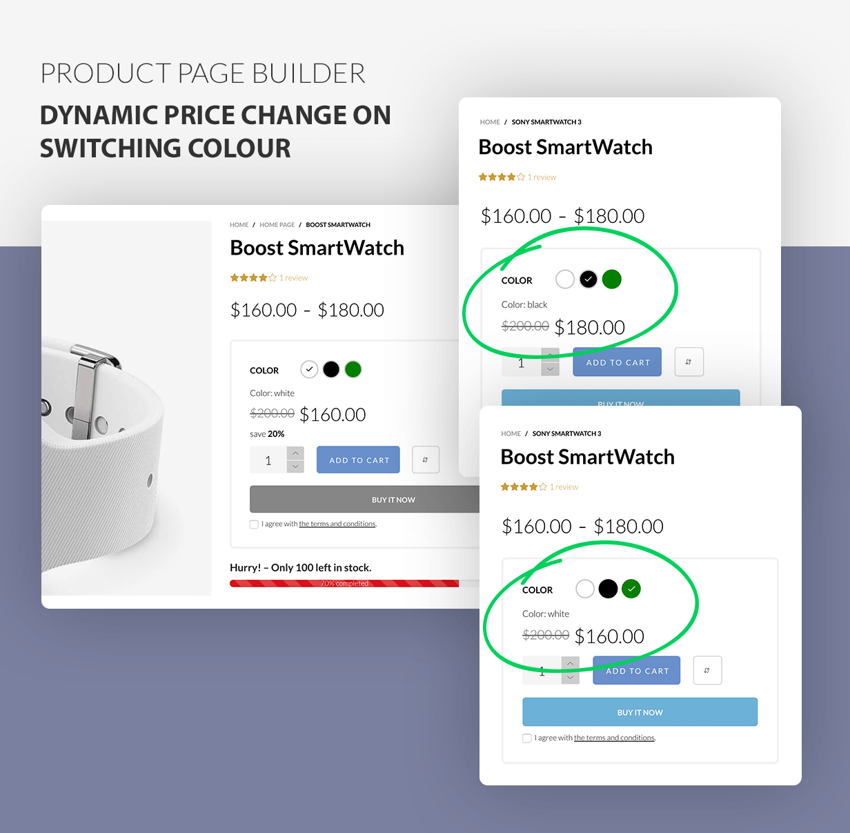 Product page builder - variant's varying prices