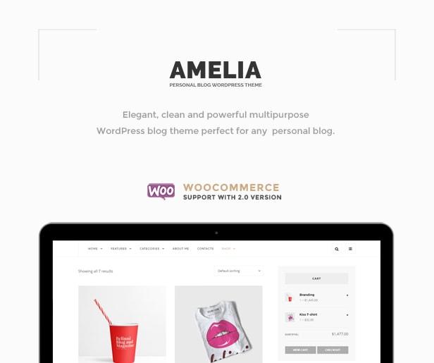 Amelia - Clean Blog & Magazine WordPress Theme + Woocommerce - 3