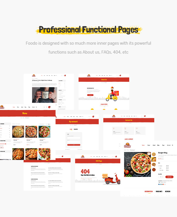 Foodo Functional Pages- Fast Food Restaurant WordPress Theme