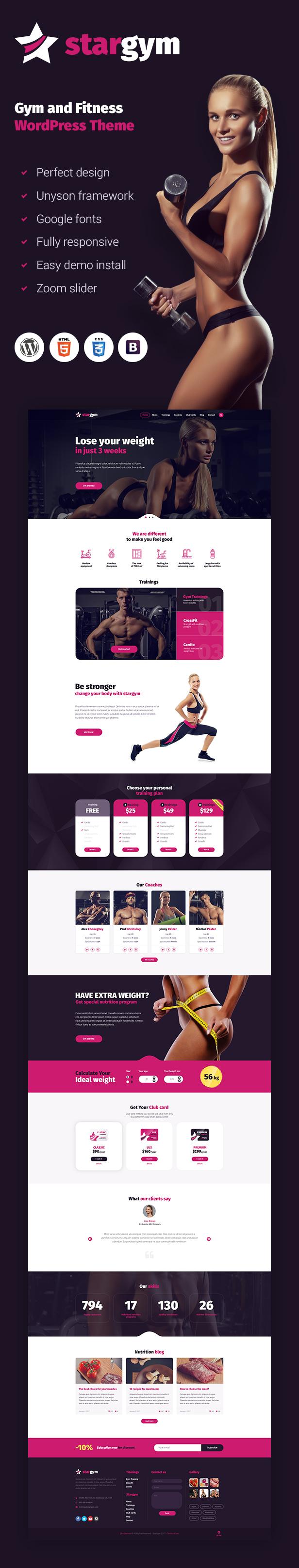 Stargym - Gym Trainer, Fitness Club and Gym WordPress Theme - 1