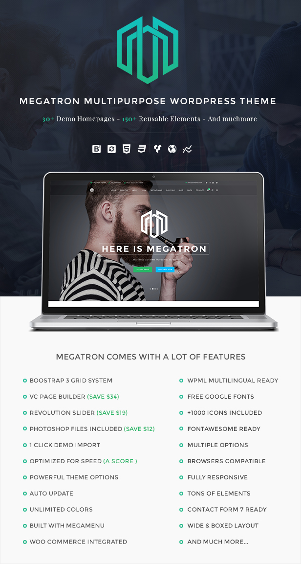 Megatron - Responsive MultiPurpose WordPress Theme - 11
