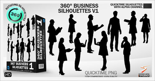 360° Rotating Business Silhouettes