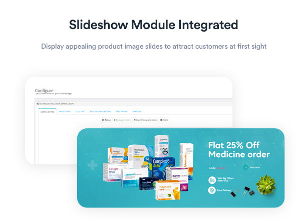 Slideshow Module Integrated Display appealing product image slides to attract customers at first sight