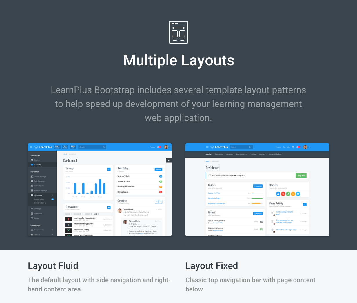 LearnPlus Bootstrap - Learning Dashboard - includes multiple layouts