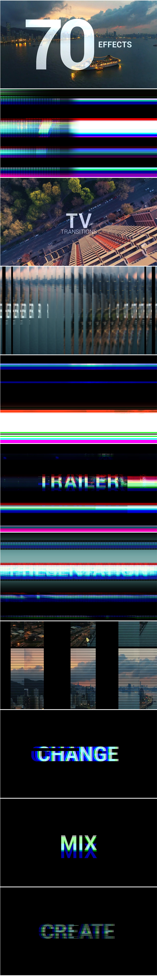 Transitions Pack After Effects Template - glitch, blur, griddler & TV effects transitions