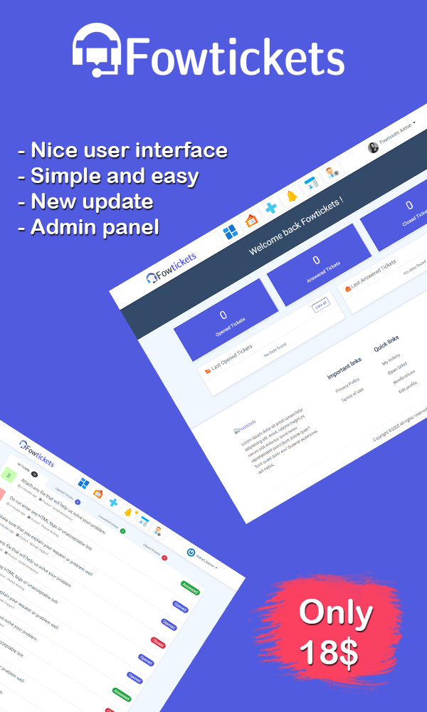 Fowtickets - Simple Laravel Tickets System - 1