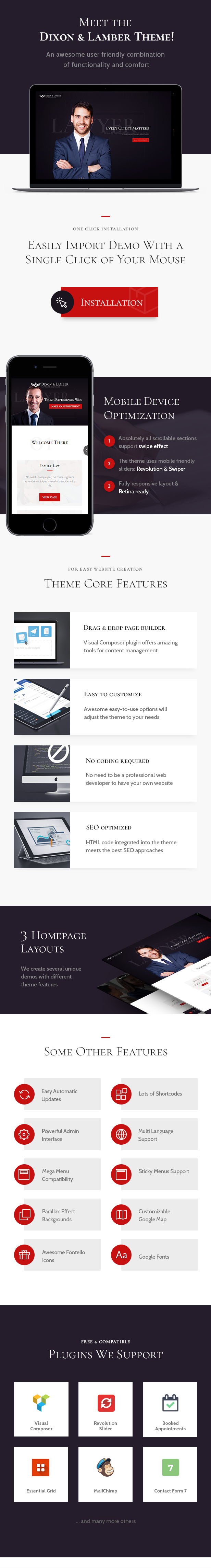 Law Firm WordPress Theme Lawyer faetures