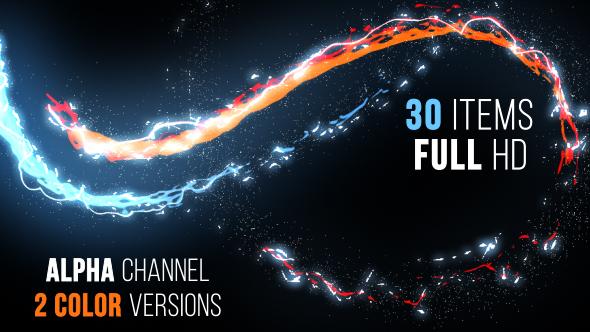 视频素材-50个魔法能量发光线条纹粒子素材包 Elegant Light Streaks With Particles插图5