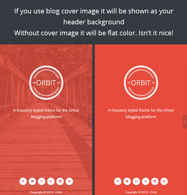 header with and without cover image