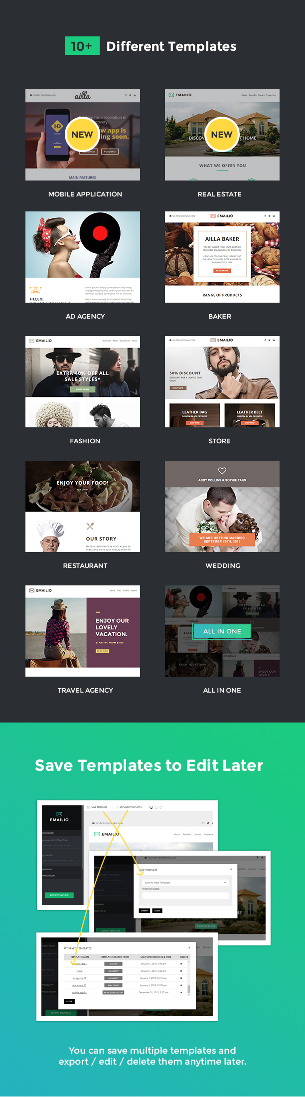 Emailio Responsive Multipurpose Email Template With Online Email ...