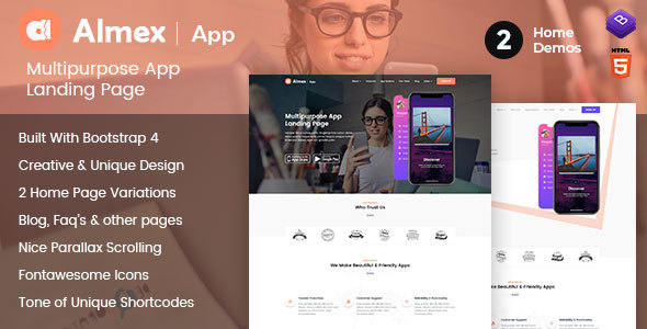 Almex : One Page Responsive HTML5 Parallax Business Landing Page - Business Corporate