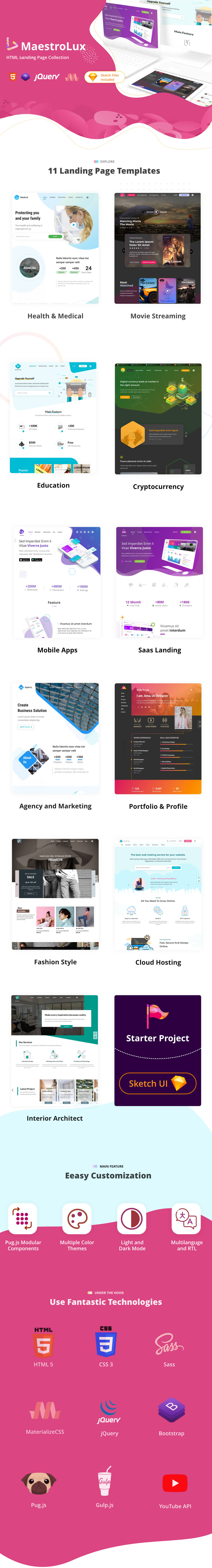Maestrolux - HTML5  Landing Page Collection