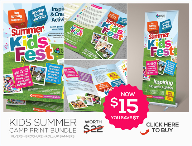 Kids Summer Camp Flyers By Kinzi21 | Graphicriver