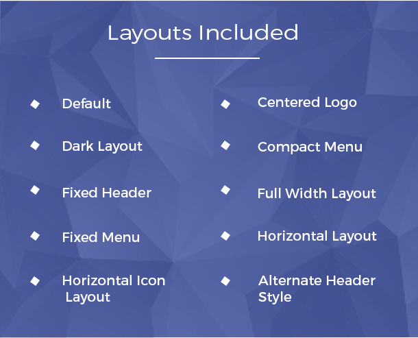 rare builder layouts are dark layout, default header, colored header, centered logo, full width layout
