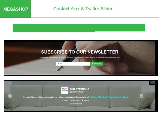 Megashop- Twitter Slider & Contact Ajax