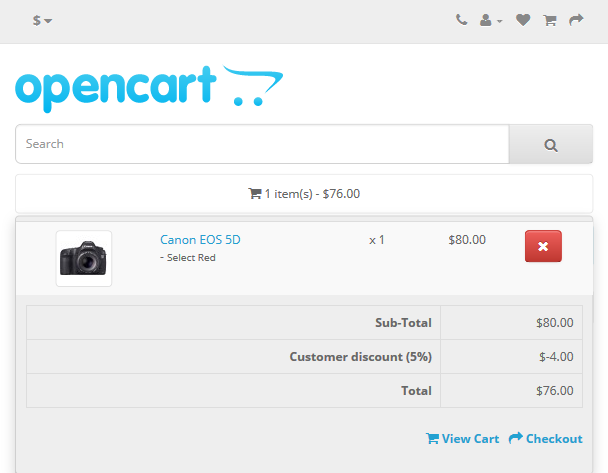 OpenCart 2.x Customer Discount Extension - Cart