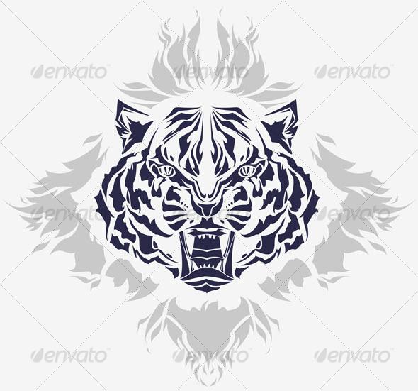 wild groaling tiger head tribal tattoo