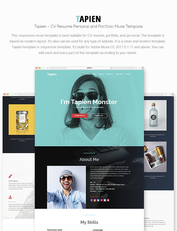 Tapien - CV Resume Personal and Portfolio Muse Template - 7