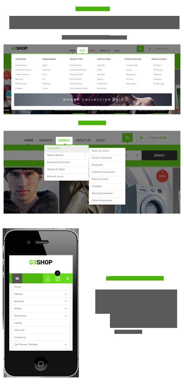 G3shop - Menu styles