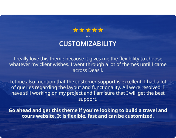 Five Star Rating for Customizability