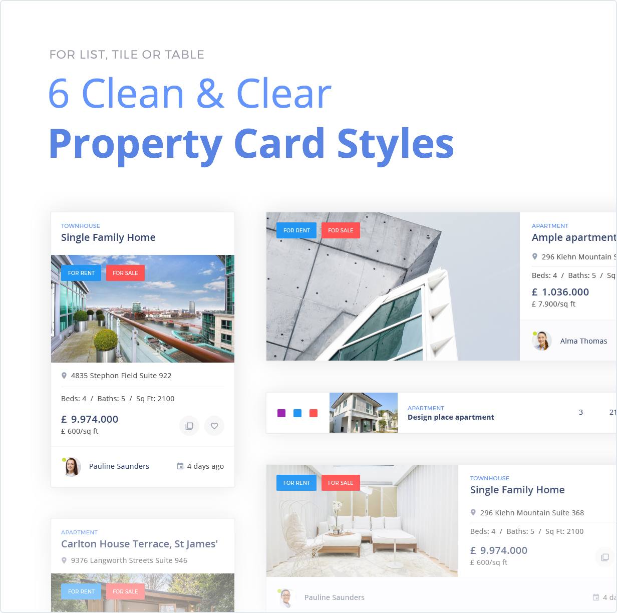 6 Clean and Clear Property Card Styles