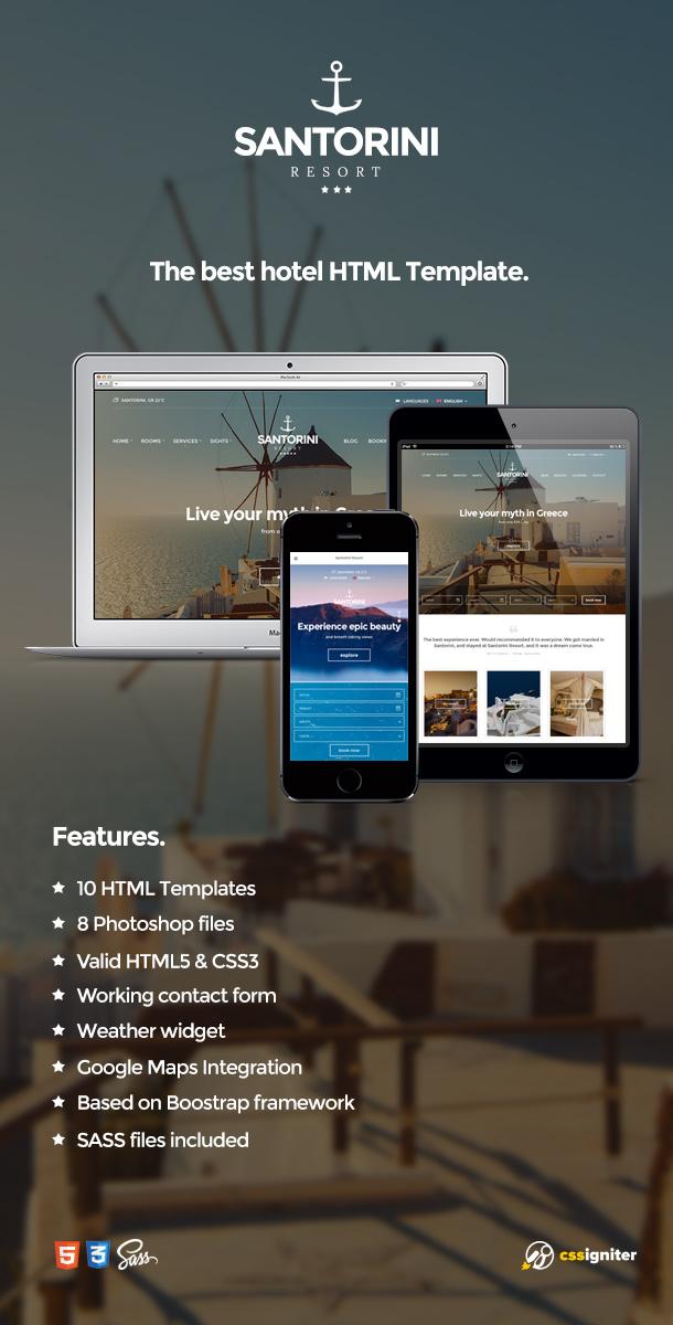 Santorini Resort - Responsive Hotel Template - 4