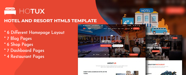 Hotux – Hotel PSD Template - 1