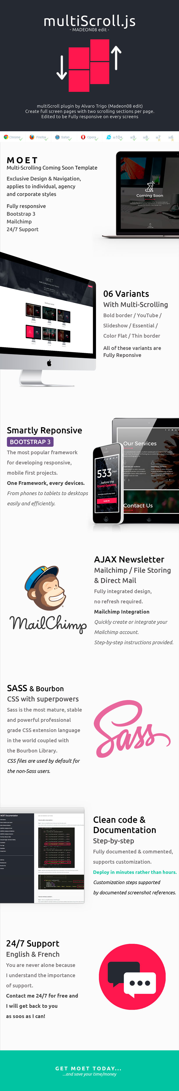 Moet Multi Scrolling Coming Soon Template By Madeon08 Themeforest