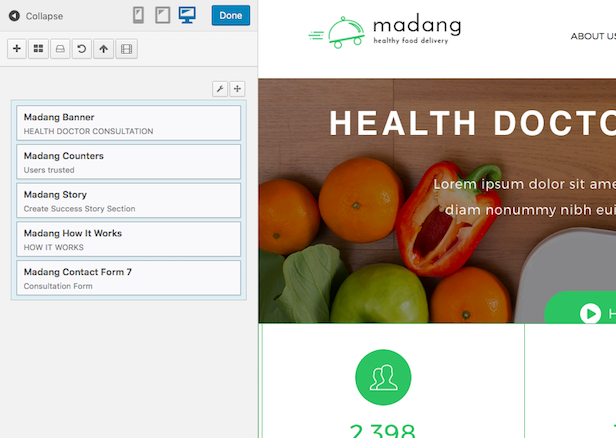 Madang WordPress edit theme contents in live
