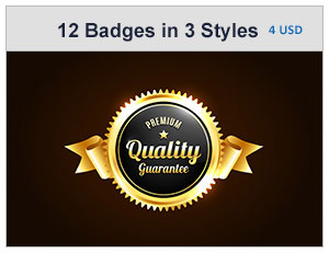 12 Premium Badges In 3 Styles