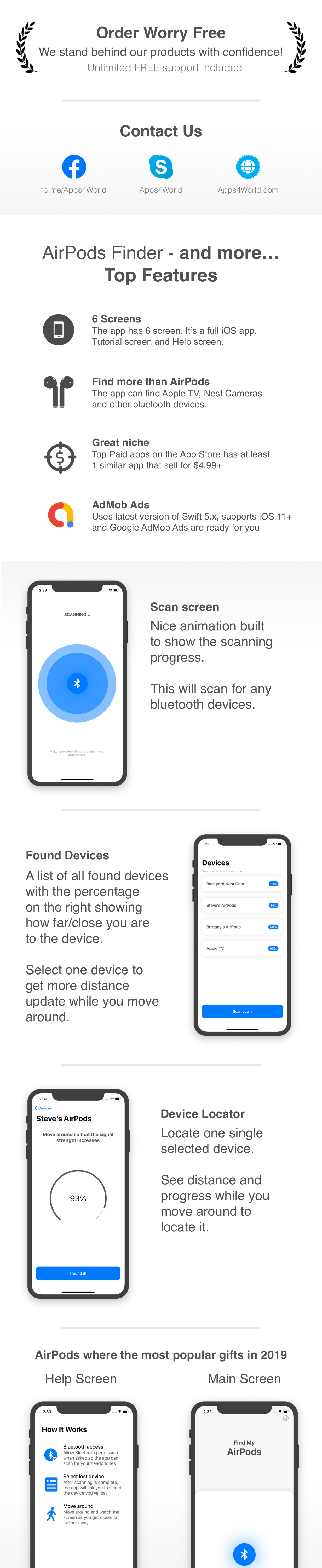 AirPods Finder - Locate lost Bluetooth Devices - Full iOS app - 1
