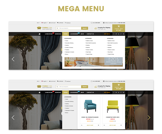 Responsive Furniture WooCommerce WordPress Theme - Menu styles