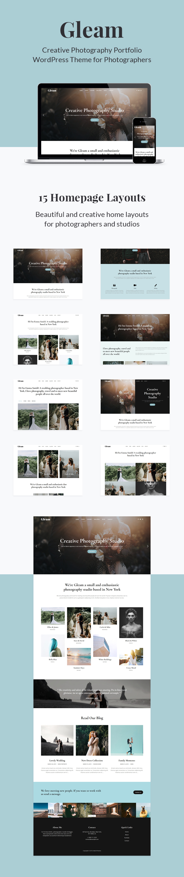 Gleam - Portfolio Photography WordPress Theme - 1