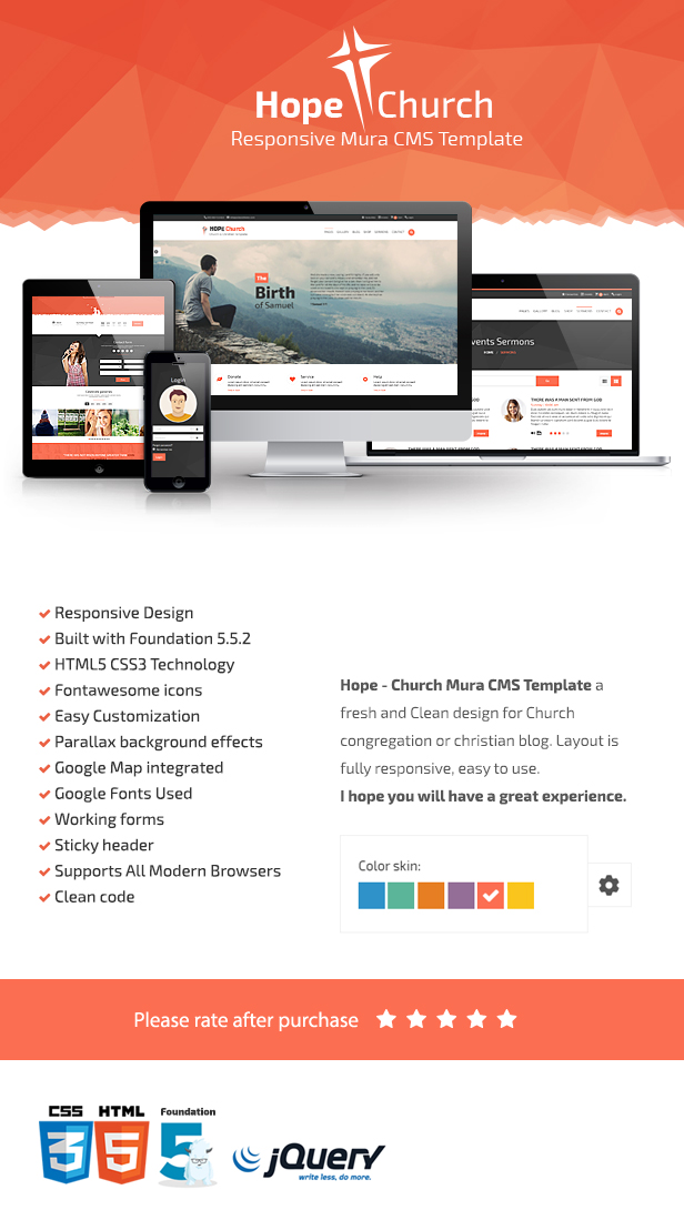 Hope Church Responsive HTML MuraCMS Theme By Mitrahsoft ThemeForest - Awesome after effects website template design