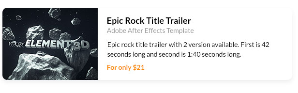 Epic rock title trailer with 2 version available. First is 42 seconds long and second is 1:40 seconds long.