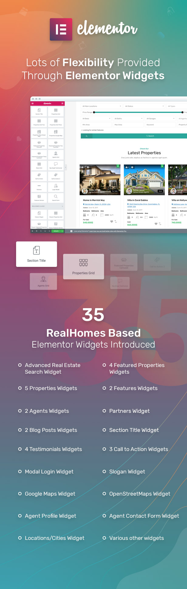 35 Elementor Widgets provided with RealHomes theme