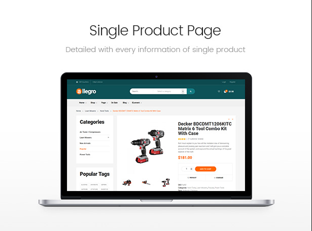 Allegro Woocommerce Wordpress Theme For Hand Tool Equipment