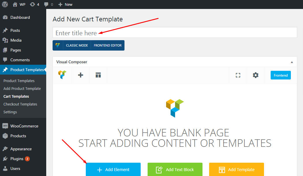 Cart page templates