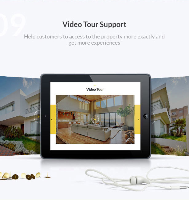 video tour support-Single Property Real Estate WordPress Theme