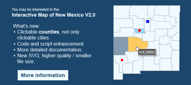 Interactive Map of New Mexico - Clickable Counties