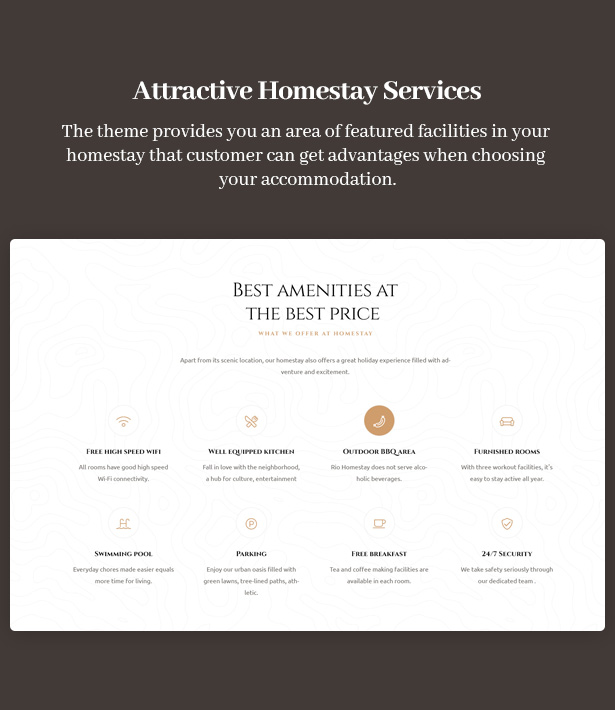 Ami Homestay Hotel WordPress Theme - Impressive Customers With Featured Facilities