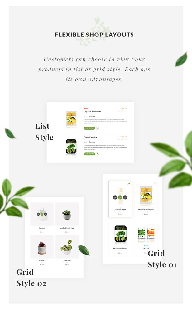 Organic Store WordPress theme - Flexible shop layouts