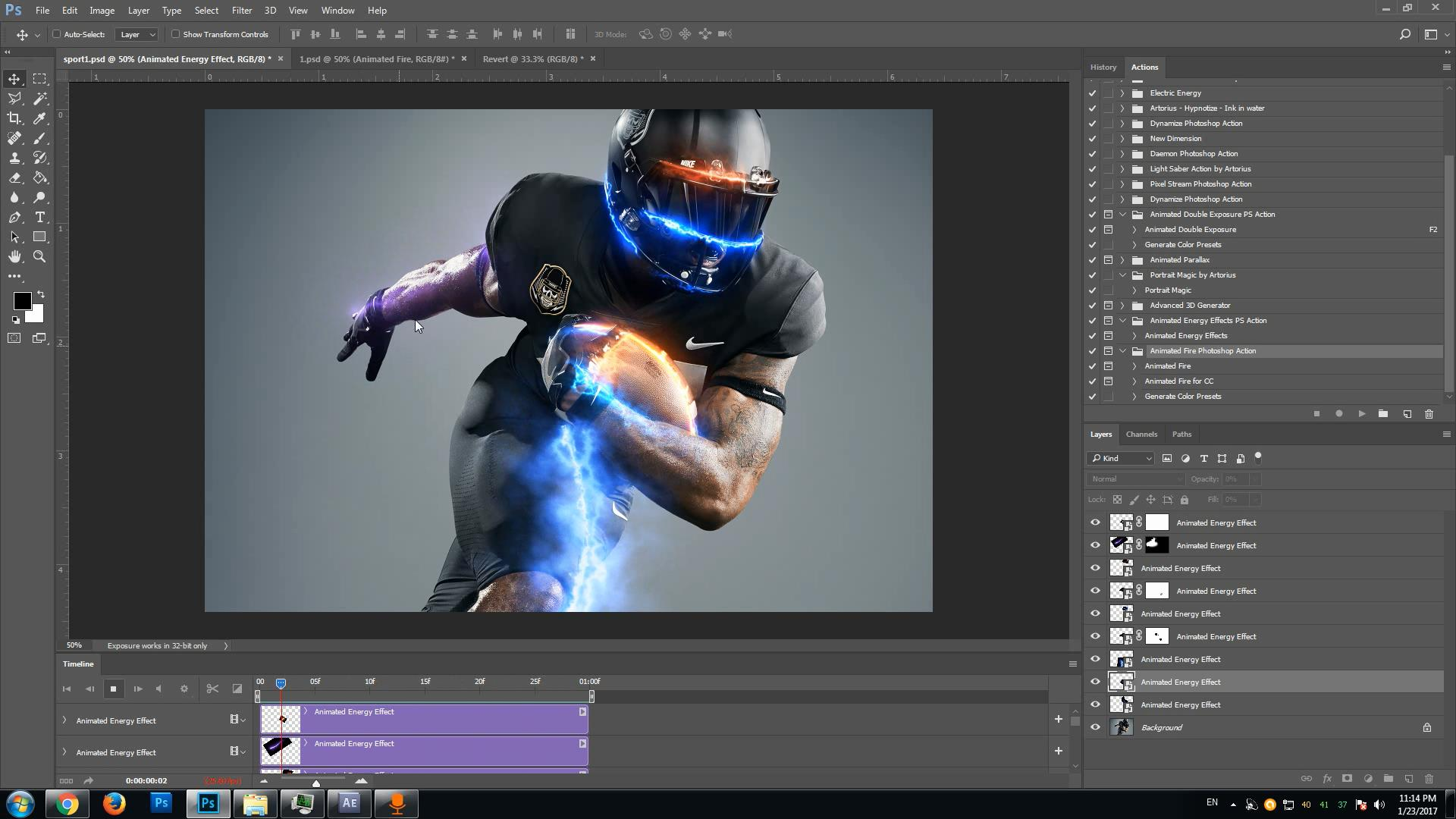 GIF Animated Energy Effects Photoshop action video tutorial