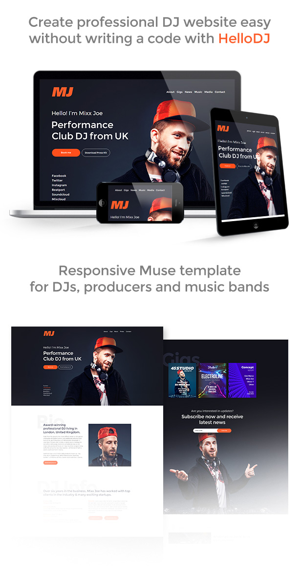 HelloDJ - DJ / Producer / Music Band Responsive Muse Template - 1