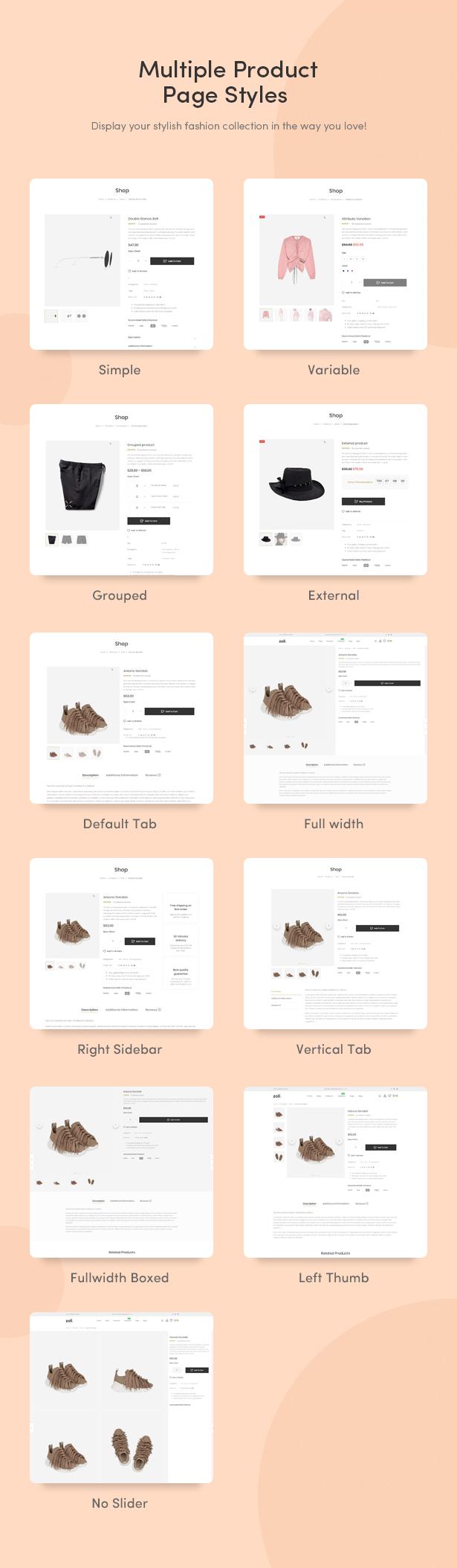 Numerous Product Page Types Designed Beautifully - Zoli - Minimal & Modern Fashion WooCommerce WordPress Theme