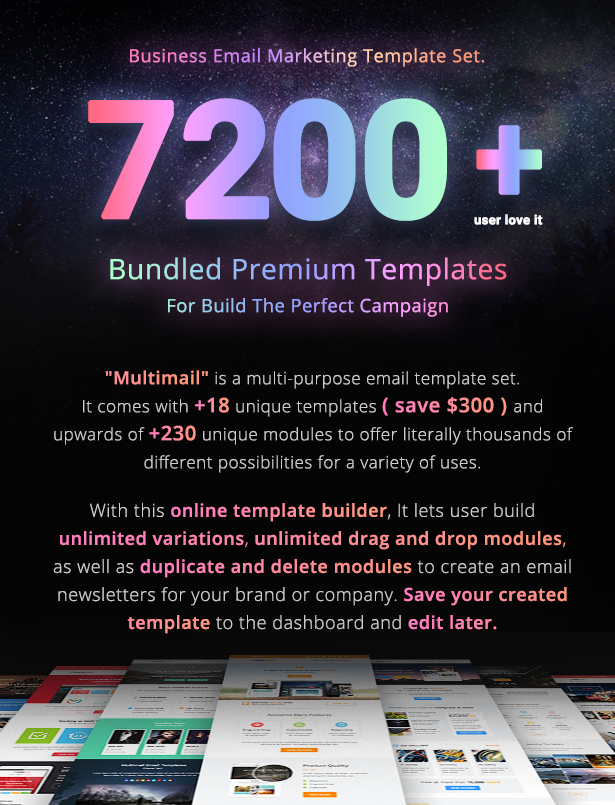 Multimail | Responsive Email Template Set + Builder Online - 3