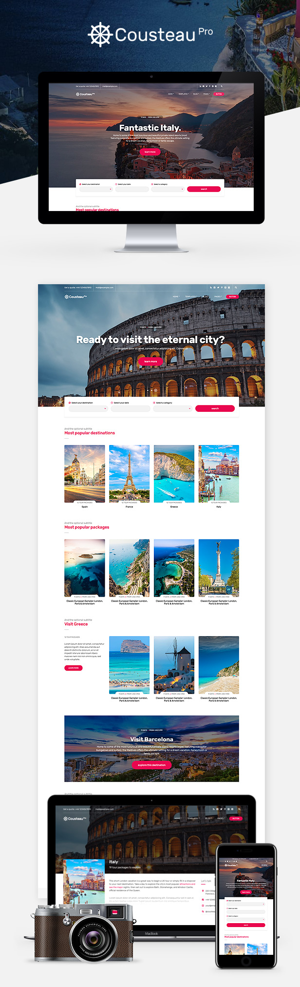 Cousteau Pro - The Travel Site Template - 1