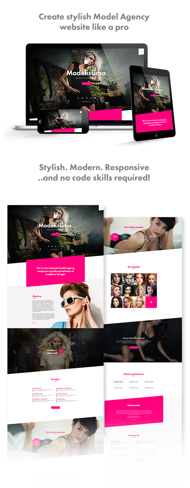 Modelissimo - Model Agency / Fashion Portfolio Onepage Muse Template - 1