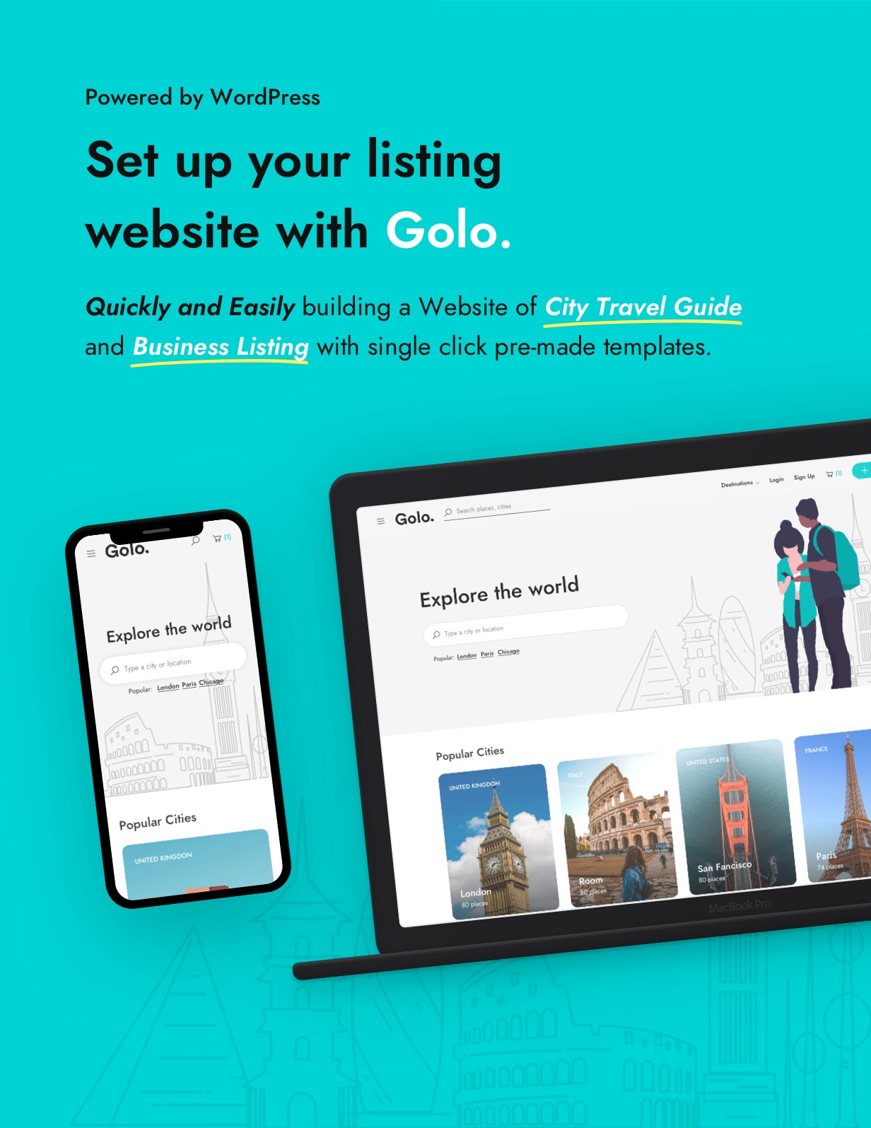 Best City Travel Guide WordPress Theme & App